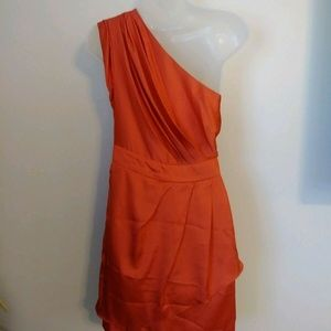 BCBG Dress SZ 4 Orange One Shoulder Party Evening